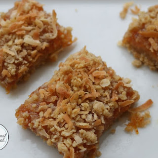 Apricot Bars With Coconut Crumble Topping.