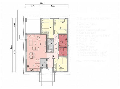 Dom D10 - Rzut parteru