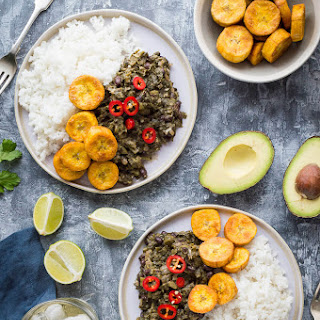 Spiced Black Beans and Callaloo with Coconut Rice and Plantain Recipe
