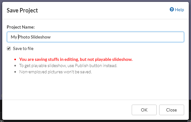 Photo slideshow editor, save to file dialog box