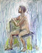 """Photo: Seated Man, in-progress, 24"""" x 30"""", 61cm x 76.2cm, mixed media on stretched canvas. What was done at TSA (see album note)."""