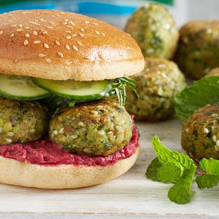 Spinach Falafel Rolls With Minted Cucumber.