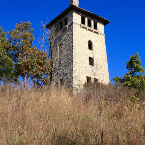 Old Water Tower by Leslie Hendrickson - Buildings & Architecture Public & Historical ( hahatonka, missouri, state park, ruins, castle )