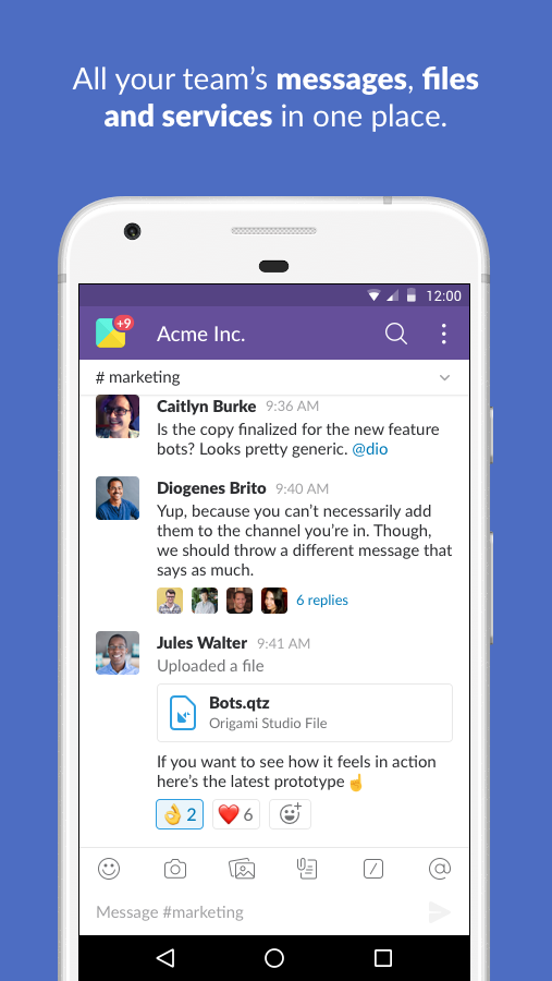 Screenshots of Slack for iPhone