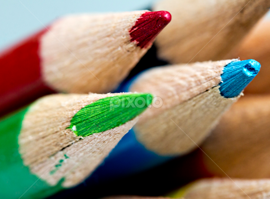RGB by Siew Feun Kylemark - Artistic Objects Still Life ( pwcstilllife-dq, macro, red, stationary, color pencils, blue, colorful, green, tricolor, still life, table top, pencils )