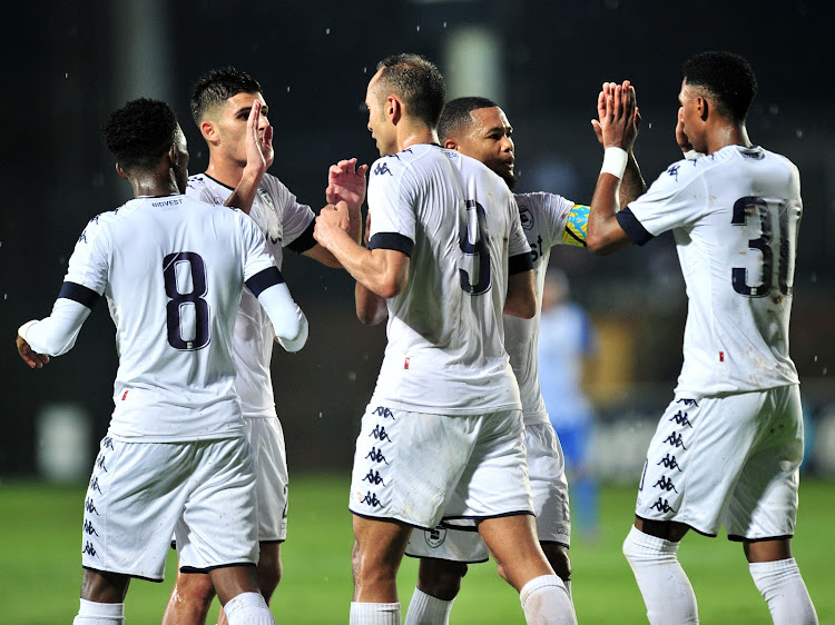 Eleazar Rodgers#9 celebrates goal with teammates during the 2018 CAF Champions League football match between Bidvest Wits and Pamplemousses at Bidvest Stadium, Johannesburg on 10 February 2018.