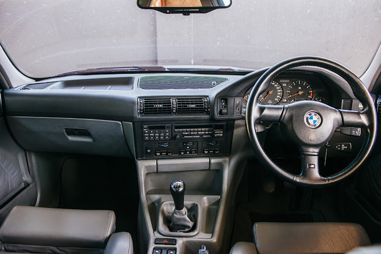 The interior of the BMW E34 M5.