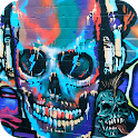 Rock Skull Graffiti theme 3D icon