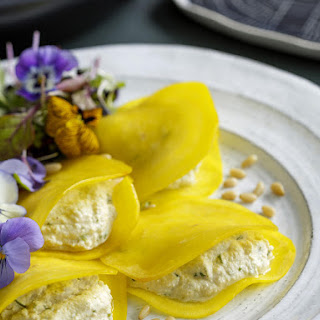 Golden Beet Ravioli with Herbed Cashew and Macadamia Cheese