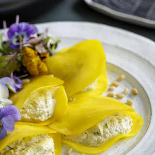 Golden Beet Ravioli with Herbed Cashew and Macadamia Cheese.