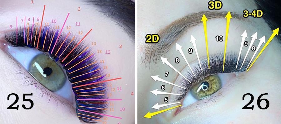схемы эффектов для наращивания ресниц плавная лиса с мини лучиками