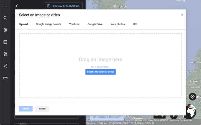 Screenshot of the upload modal