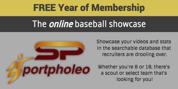 Baseball giveaway - 1 year free membership to sportpholeo online showcase
