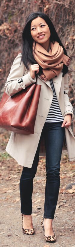 Casual look with neutral trench coat, stripe shirt, jeans and animal print flats for Deep Autumn women