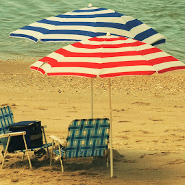 Red, White, and Blue Beach Party Gear for the Fourth of July, Florida by Sheri Fresonke Harper - Public Holidays July 4th ( red, white, blue, umbrella, florida, cooler, chair, beach, sheri fresonke harper, fourth of july, party, gear,  )