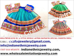 Photo: RAMLEELA STYLE BOLLYWOOD 2 LAYER CHANIYA CHOLI-APPROX SIZE:Height of Skirt (chaniya) -41''inch/Skirt flared size (width )-136''inch/The skirt has both sided (front & back) embroidery work./Size of Blouse : Regular (free size)