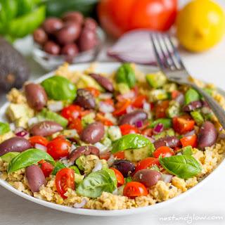 Crushed Chickpea Hummus Mediterranean Salad.