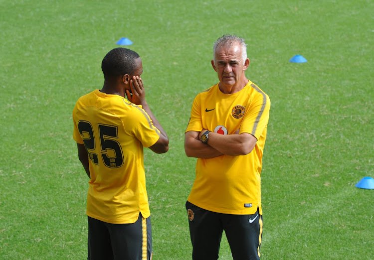Kaizer Chiefs striker Bernard Parker (L) chats to technical director Robertus 'Rob' Hutting during a training session at the club's headquarters at Naturena, south of Johannesburg.