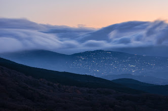 Photo: A thick fog rolls over the mountains around Hakone, Japan