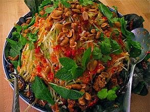 Photo: crispy flaked catfish salad with sour green mango
