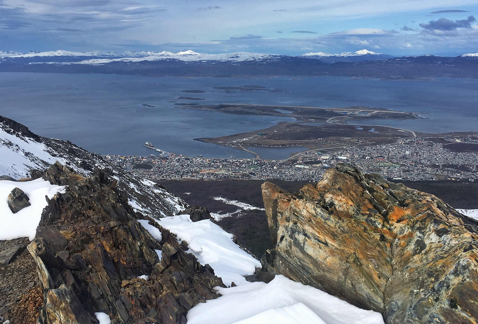 View over Ushuaia from summit of Cerro del Medio. Argentina