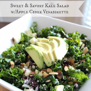 Sweet & Savory Kale Salad with Apple Cider Vinaigrette.