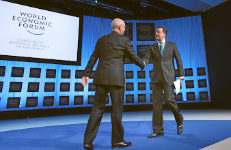Photo: DAVOS/SWITZERLAND, 26JAN12 - David Cameron(R), Prime Minister of the United Kingdom makes handshaking with Klaus Schwab, Founder and Executive Chairman, World Economic Forum; Foundation Board Member, captured during the session 'Special Address' at the Annual Meeting 2012 of the World Economic Forum at the congress centre in Davos, Switzerland, January 26, 2012.  Copyright by World Economic Forum swiss-image.ch/Photo by Moritz Hager