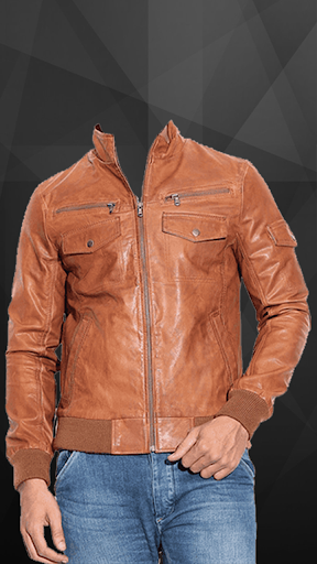 Man Leather Jacket Photo Suit screenshot 5