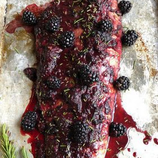 Oven Baked Salmon with Blackberry Barbecue Sauce.