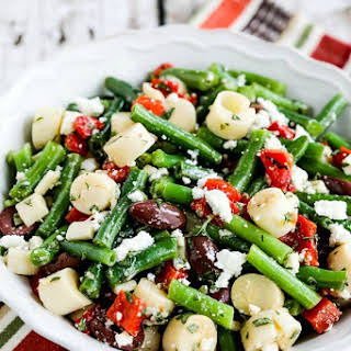 Green Bean Salad with Hearts of Palm, Olives, Red Pepper, and Feta.