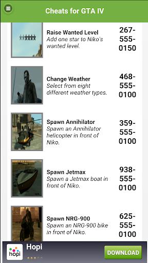 Cheats for GTA IV