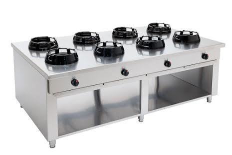 Wokspis 8 brännare 9.5, 14 eller 21 kW dim 2000x1000x850 mm