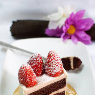 Chocolate and Strawberry Bavarian Cream Layer Cake.