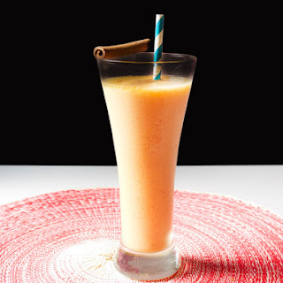Peachy Rum and Coconut Frozen Blended Cocktail.
