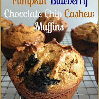 Pumpkin Blueberry Chocolate Chip Cashew Muffins