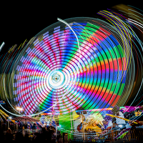 Spin Cycle by Christopher Pischel - City,  Street & Park  Amusement Parks ( rides, amusement park, amusement ride, color, long exposure, motion, state fair, midway, night shot,  )