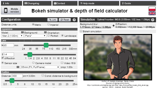 Bokeh simulator/DOF calculator- screenshot