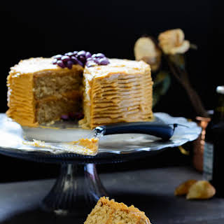 Vanilla Malt Cake with Caramel Cream Cheese Frosting.