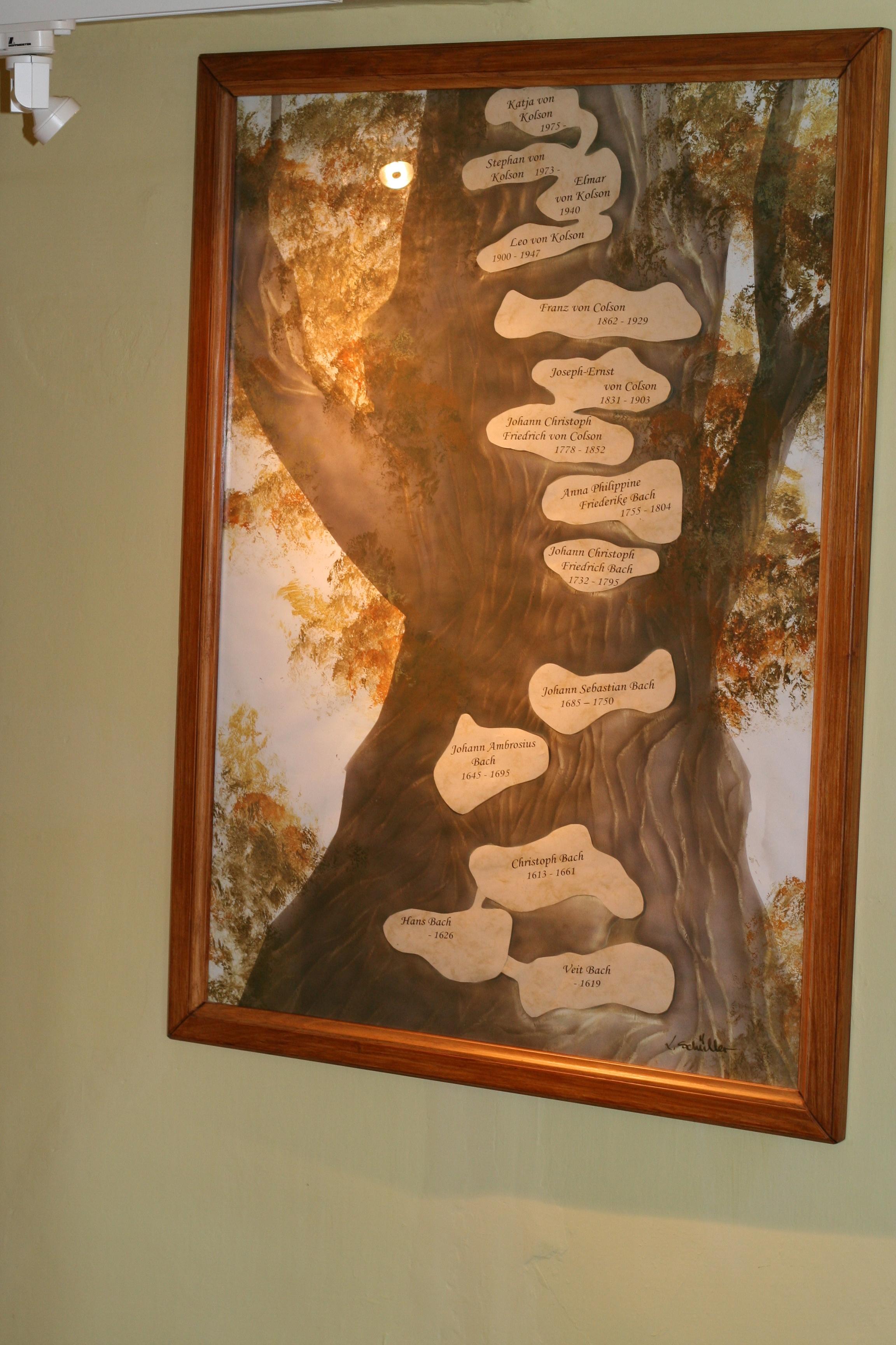 Photo: Im Bachmuseum Wechmar, Ahnenabbildung (Stammbaum der Vorfahren von J.S. Bach)