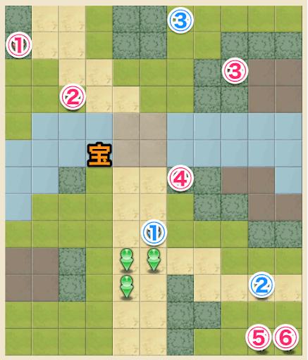 ノーマル1-2のキャラ配置マップ