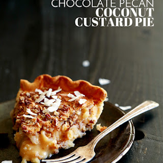 Chocolate Pecan Coconut Custard Pie.