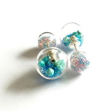 925純銀雙球耳環