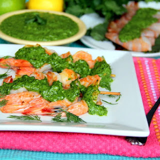 Nut/Dairy-Free Spinach, Cilantro and Basil Pesto over Seared Shrimp