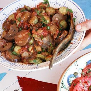 Eggplant and Zucchini in Tomato-Garlic Sauce.
