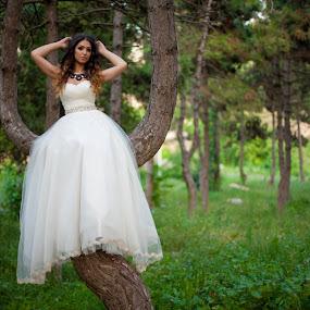 Trash the dress by MIHAI CHIPER - Wedding Bride ( nature, tree, woman, bride, trash the dress,  )