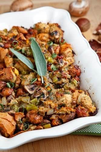 """Italian Sausage, Mushroom and Chestnut Stuffing""""A tasty stuffing or dressing with Italian..."""