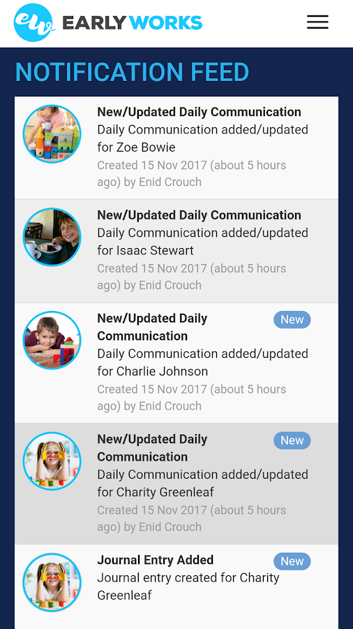 EarlyWorks Family and Educator Portal- screenshot