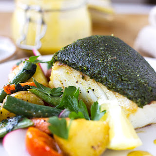Almond and Herb Crusted Haddock.