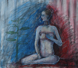 """Photo: She, herself, 2012, 12.5"""" x 12"""", mixed media on primed canvas sheet. The child-like drawing is a return to innocence. She touches herself. She is meditative, aware, loss and trust fill her, her erotic energy is strong."""