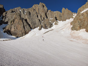 Photo: We dropped into Blaine Basin and circled around to The Snake Couloir.